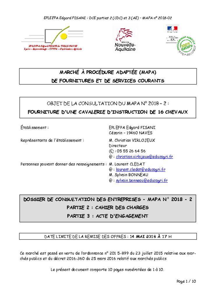 thumbnail of Cahier des charges – Acte d'engagement