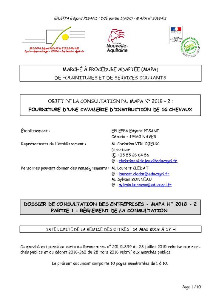 thumbnail of Règlement de la consultation